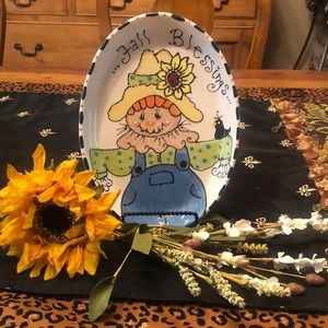 Fall Blessings Oval Scarecrow platter!